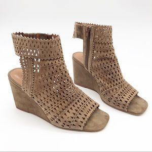 Jeffrey Campbell Laser Cut Peep Toe Wedge Sandals